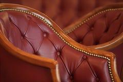 Butaca interior clásica del cuero del detalle Imagen de archivo libre de regalías