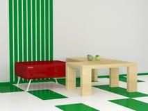 Butaca moderna con la mesa de centro Fotografía de archivo