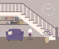 Butaca púrpura, situada debajo de las escaleras stock de ilustración