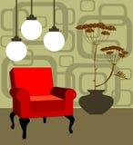 Butaca roja del vector, interior retro moderno Fotografía de archivo