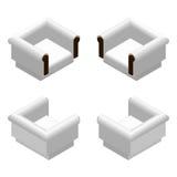 Butaca suave blanca isométrica Elementos del diseño de los muebles Ilustración del vector Foto de archivo libre de regalías