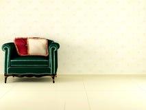 Butaca verde clásica de interior Fotos de archivo libres de regalías