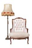 Butaca y lámpara de lujo de la vendimia Foto de archivo