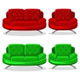 Butaca y sofá coloridos, sistema 11 de la historieta Fotografía de archivo libre de regalías