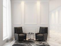 Butacas y mesa de centro en interior blanco clásico Mofa del interior para arriba Fotografía de archivo libre de regalías