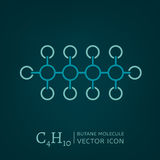 Butane Molecule Icon. Butane molecule in flat style. C4H10 vector illustration isolated on a dark green background. Scientific, chemical, educational and popular Stock Images