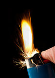 Butanfeuerzeugzünden Stockfotografie
