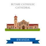 Butare Catholic Cathedral in Rwanda Flat web vecto Stock Photography