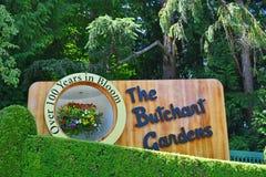 butchart庭院的标志 库存照片