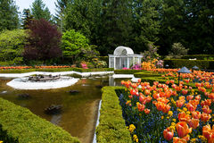Butchart Gardens. Italian garden with water feature in Butchart Gardens royalty free stock photos
