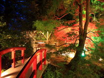 Butchart gardens. At night, Victoria, canada Royalty Free Stock Image