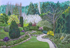 Butchart Gardens Painting Stock Photography