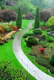 Butchart gardens in rain Stock Photography