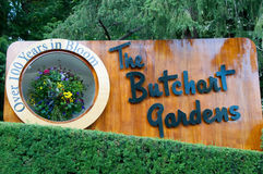 Butchart Gardens sign. The famous Butchart Gardens at Victoria, B.C royalty free stock image