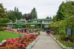 Butchart Gardens, Victoria, BC. People on flower lined walks in Butchart Gardens in Victoria, British Columbia, Canada on overcast day stock images
