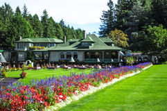The Butchart Gardens in Victoria, Canada. ? restaurant field with blooming flower beds stock photo