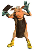 The Butcher. Pig in human pose as a butcher Stock Images