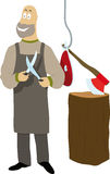 Butcher. A joyfull butcher sharpening knives Royalty Free Stock Image