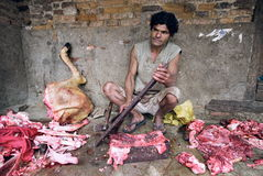 Butcher. Street butcher in old city of Patan Royalty Free Stock Photo