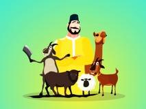 Butcher with Animals for Eid-Al-Adha Mubarak. Illustration of Butcher with Animals on glossy background for Muslim Community, Festival of Sacrifice, Eid-Al-Adha Stock Photography