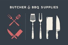 Butcher and BBQ supplies. Meat cutting knives and forks set. Butcher and BBQ supplies. Poster meat knife, cleaver, chef and grill fork. Set of butcher meat Stock Image