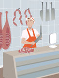 Illustration of a butcher behind his counter Royalty Free Stock Photography