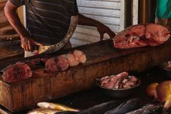 Butcher on Fish market, closeup stock photography