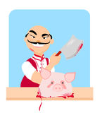 Butcher - cartoon. Funny butcher - cartoon,  illustration Royalty Free Stock Image