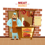 Butcher Cartoon Illustration Stock Photo
