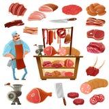 Butcher Cartoon Set Royalty Free Stock Photography
