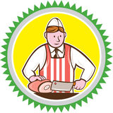 Butcher Chopping Ham Rosette Cartoon Stock Image