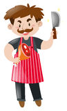 Butcher with chopping knife and meat Stock Photos