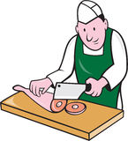 Butcher Chopping Meat Cartoon Stock Photo