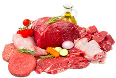 Butcher cut meat assortment garnished Stock Photo
