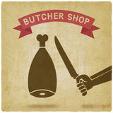 Butcher cuts meat old background Stock Image