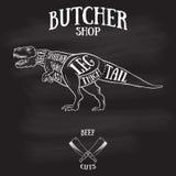 Butcher cuts scheme of dinosaur Stock Photography
