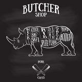 Butcher cuts scheme of rhinoceros Royalty Free Stock Image