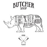 Butcher cuts scheme of rhinoceros Stock Photography