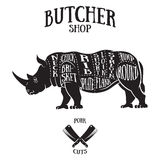 Butcher cuts scheme of rhinoceros Royalty Free Stock Images