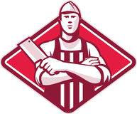 Free Butcher Cutter Worker Meat Cleaver Knife Retro Royalty Free Stock Images - 26245289