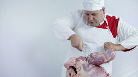 Butcher cutting away big piece of turkey meat. Professional butcher preparing fresh turkey meat for cooking dishes and freezing in refrigerator for later use stock video footage