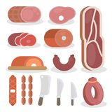 Butcher equipment set. Red meet, sausages and knives Royalty Free Stock Image
