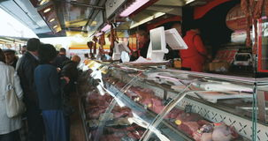 Butcher fresh meat market traditional stock video