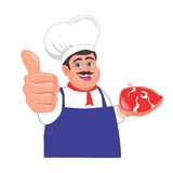 Butcher give thumbs up cartoon Stock Image