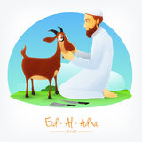 Butcher with Goat for Eid-Al-Adha Mubarak. Illustration of a Butcher with Cleaver Knife and Goat on nature background for Muslim Community, Festival of Royalty Free Stock Photos