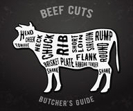 Butcher guide beef cuts. Beef cuts. Butcher guide on blackboard. Vector illustration Stock Photography