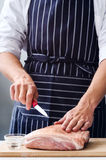 Butcher hands with raw meat pork shoulder Stock Photography
