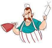 Butcher with knife and meat Stock Images