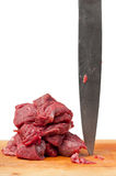 Butcher knife raw meat Royalty Free Stock Photo