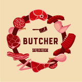 Butcher lable with meat. Food sign for meat shop. Royalty Free Stock Photos